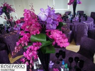 Tall Black flutes with Orchids