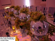 Green Cymbidium Orchids in Mirror Ball/Table